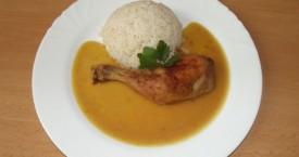 Pečené kuře na šafránu, dušená rýže